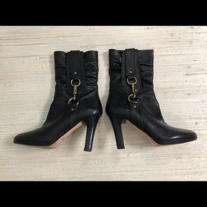 Coach Torree Leather Boots Stacked Heel Size 7.5